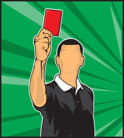 Soccer referee giving red card  football judge hand with red card