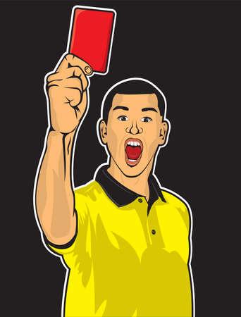 Voetbal scheidsrechter geeft rode kaart voetbal rechter hand met rode kaart