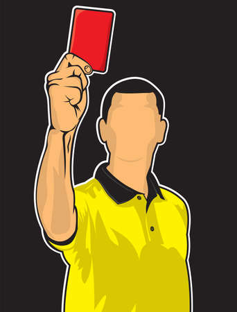 soccer referees hand with red card: Soccer referee giving red card  football judge hand with red card