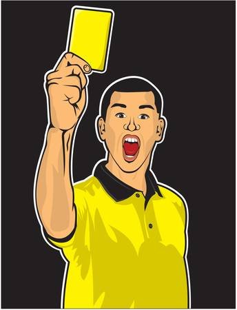 penalty card: Soccer referee giving yellow card  football judge hand with yellow card