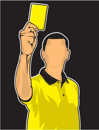 judge players: Soccer referee giving yellow card  football judge hand with yellow card