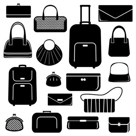 leather bag: Bags and suitcases icons set