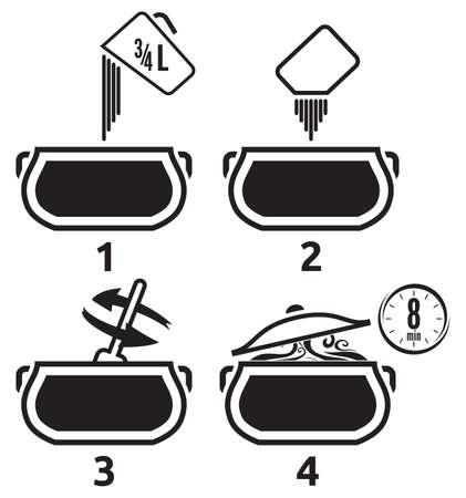 whisk: Kitchen icons set how to prepare Illustration