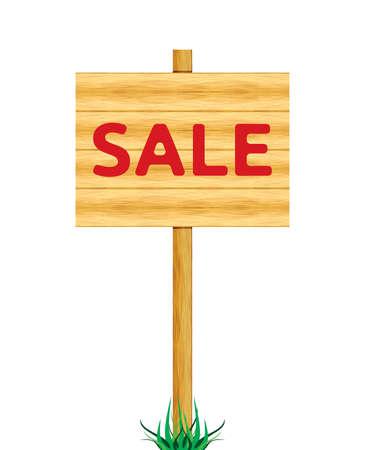 Sale wooden billboard Stock Vector - 18662059