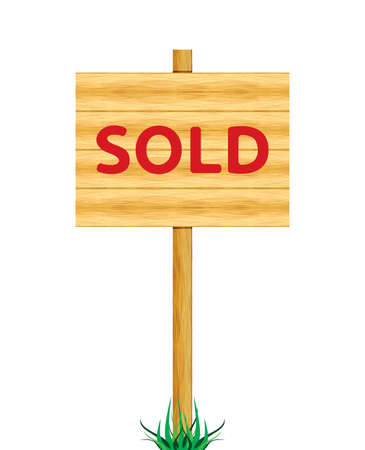 Sold wooden billboard Stock Vector - 18662058