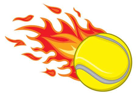 pelota caricatura: Pelota de tenis en el fuego