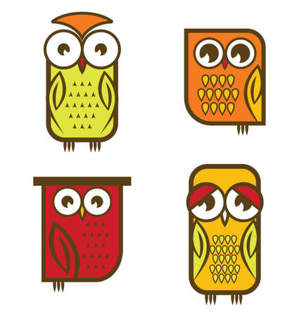 Beautiful isolated owl collection Vector