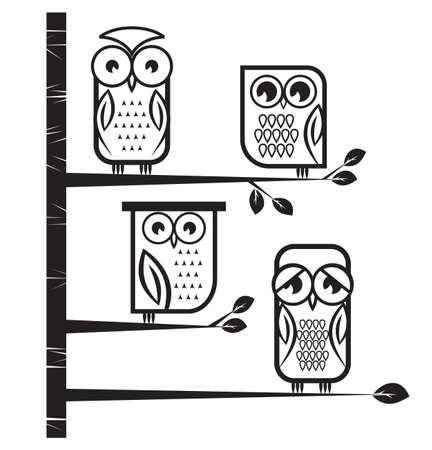 owl on brench Stock Vector - 18690147