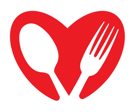 A heart and food concept Vector