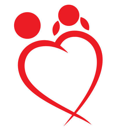 Garçon coeur rouge et le symbole de fille