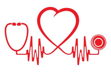 of electrocardiogram: Forma de coraz�n con el estetoscopio ECG l�nea Vectores
