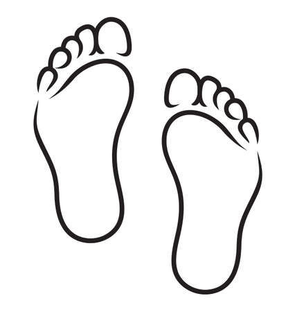 barefoot walking: foot symbol Illustration