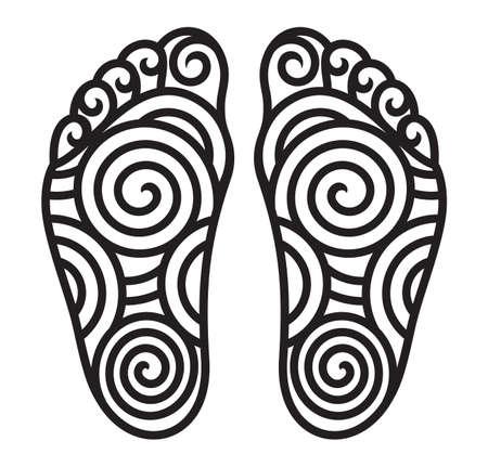 barefoot walking: foot symbol Illustration