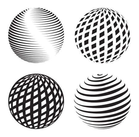 erde gelb: Sammlung von abstrakten Globus-Icons und Symbole Illustration