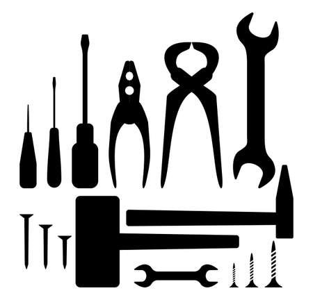 adjustable wrench: Hand tool silhouette set