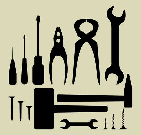 coping: Hand tool silhouette set