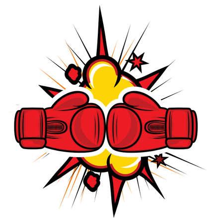 guantes de boxeo: guantes de boxeo de huelga Vectores