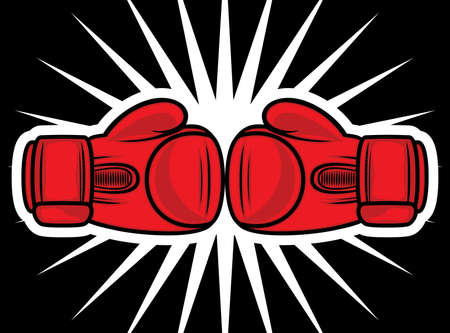 boxing sport: boxing gloves strike Illustration
