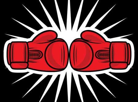 boxing equipment: boxing gloves strike Illustration