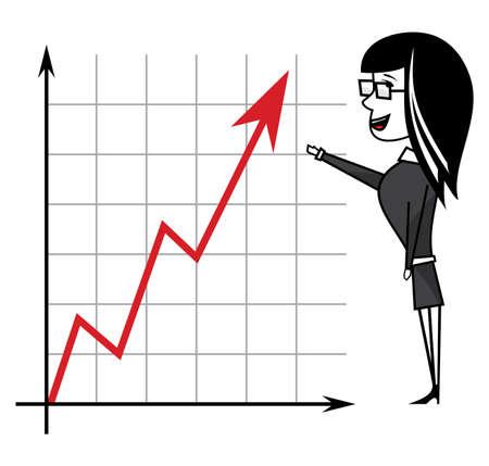 confidant: Business woman presenting Illustration