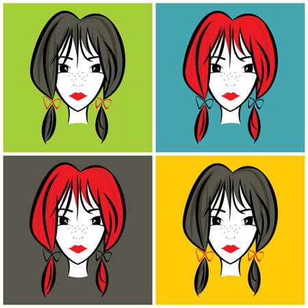 portrait illustration girl Vector