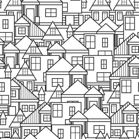 yellow roof: House seamless pattern Illustration