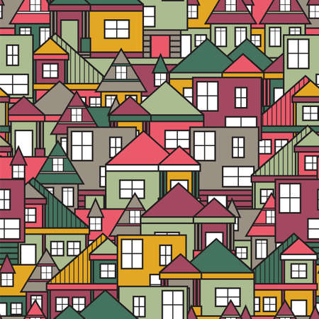 yellow house: House seamless pattern Illustration