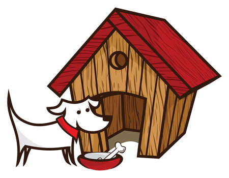 big smile: Dog with dog house