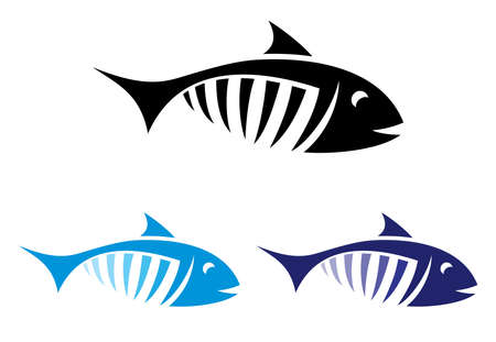 salmon leaping: fish symbol Illustration