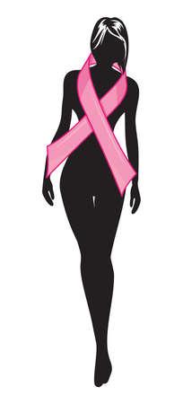 cancer de mama: Silueta de la mujer y la cinta rosa Vectores