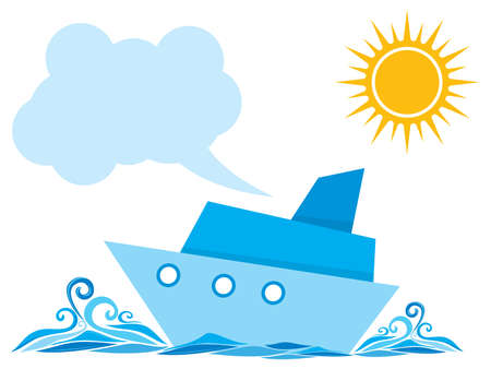 Cartoon ship on the sea Vector
