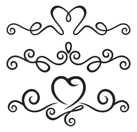 heart outline: calligraphic floral elements Illustration
