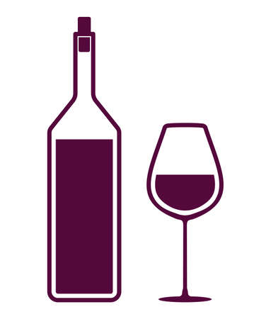 glass with red wine: Wine bottle and a glass icon Illustration