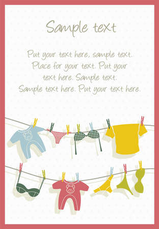 clothes peg: Clothes on clothesline card