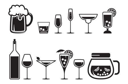 coctel de frutas: Beber bebidas alcoh?licas iconos establecido
