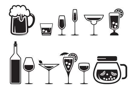 glass with red wine: Drink alcohol beverage icons set