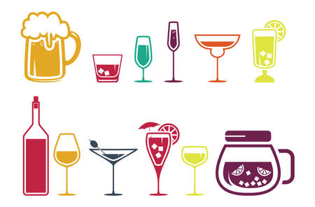 whie wine: Drink alcohol beverage icons set