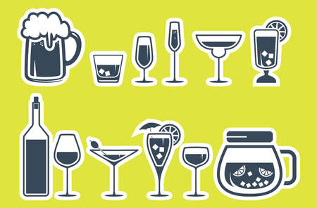 drinking alcohol: Drink alcohol beverage icons set