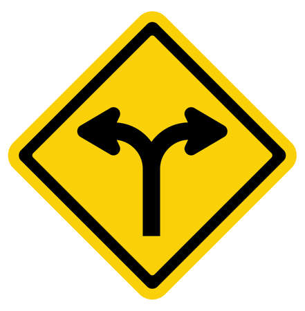 bifurcation: Forked road sign