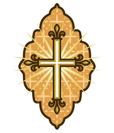 baptist: Golden cross icon Illustration