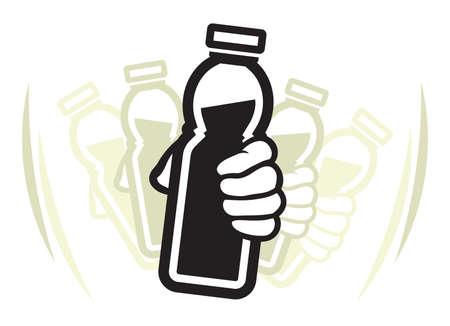 mezcla de frutas: Agite la botella de yogur antes de su uso Vectores