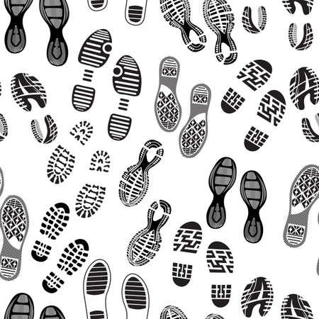huellas pies: suelas de zapatos patr?n pie de imprenta Vectores