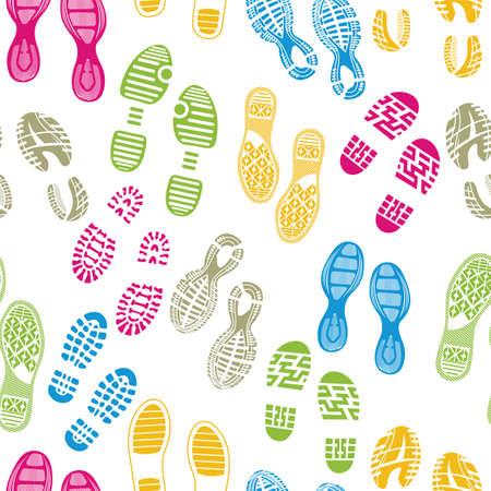 huellas de pies: suelas de zapatos patr?n pie de imprenta Vectores