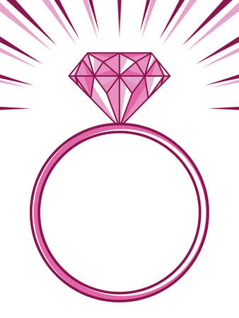 bruiloft of verlovingsring met diamant Stock Illustratie