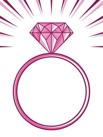 mariage ou de fiançailles bague avec diamant Vecteurs
