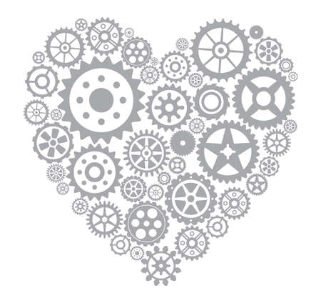technology symbols metaphors: Heart from gears
