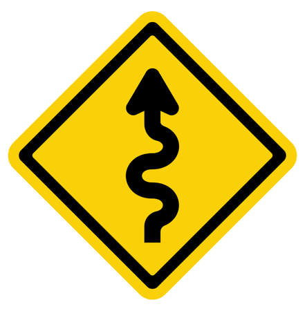 yield sign: Winding Road Sign Illustration