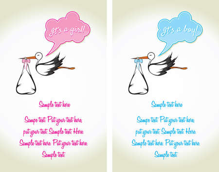 Baby Card - A stork delivering a cute baby Vector