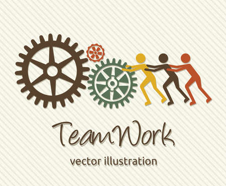team working together: teamwork card Illustration