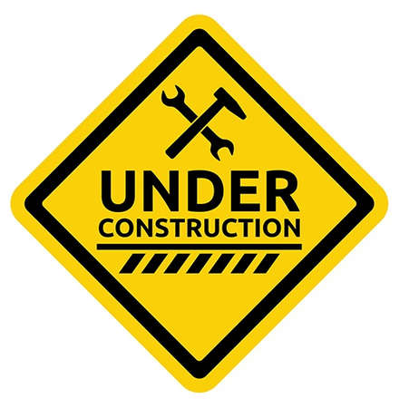 www at sign: under construction road sign